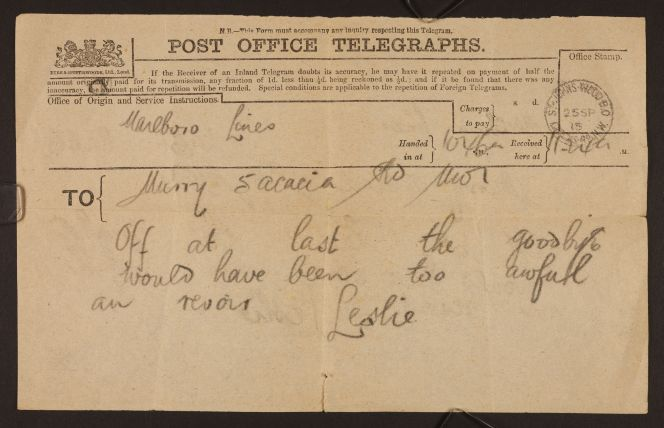 Telegram from Leslie Beauchamp to his sister, Katherine Mansfield. Ref: MS-Papers-7224-05.