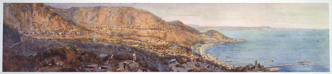 Anzac Cove; the historic landing-place / from a sketch made by Sapper H. Moore-Jones.