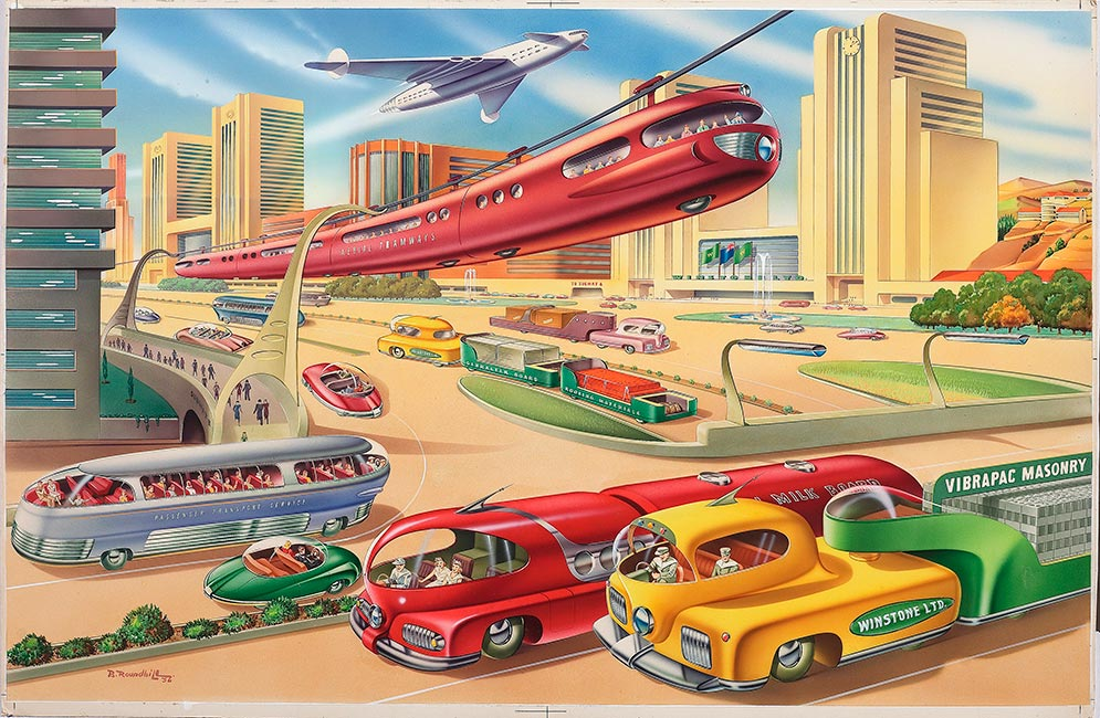 'Original artwork Auckland 2000' by Bernard Roundhill, 1956. A 1956 artist's impression of Auckland in the year 2000. It shows trains suspended from wires, rocket-like aeroplanes, bright coloured buildings and vehicles, and no traffic jams.  [Auckland 2000](/files/schools/hm12-artwork-auckland-2000-english.mp3)