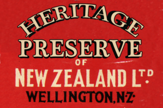 Label for the Heritage Preserve of New Zealand company.