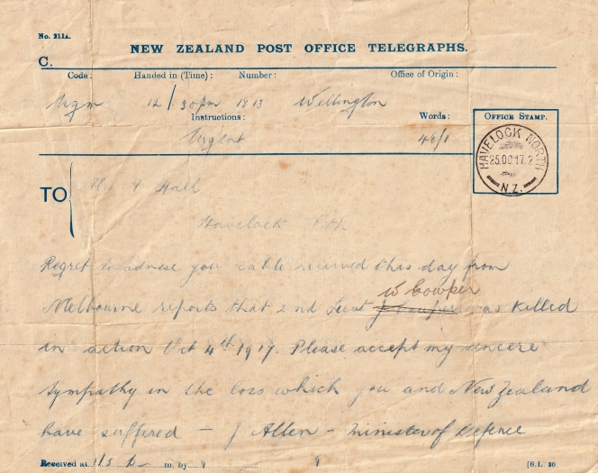 Telegraph received by Dolly informing her of Harry's death.