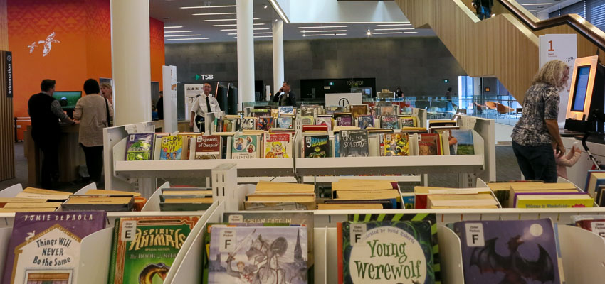 Childrens books on display at a public library.