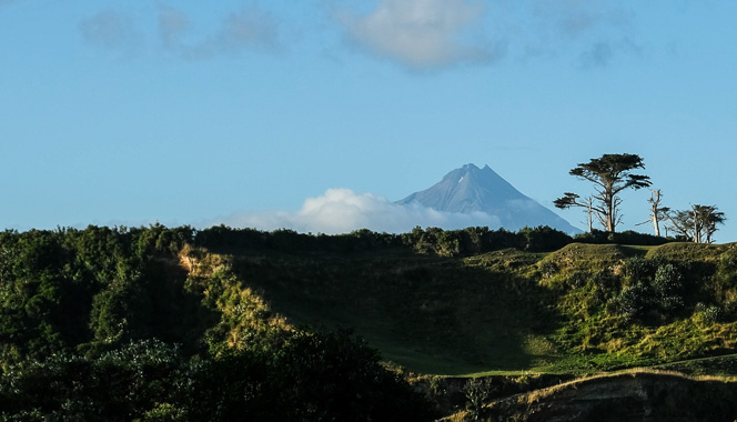 Rural photo with Mount Taranaki in the distance.