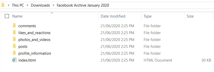 Facebook archive file structure showing folders for comments, likes/reactions, photos/videos, posts and profile information.