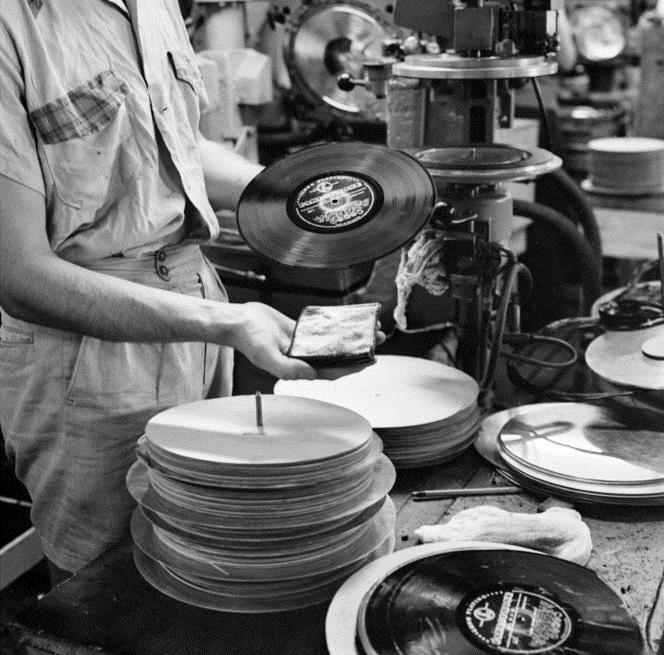 Detail, HMV record factory, Wellington (1957).