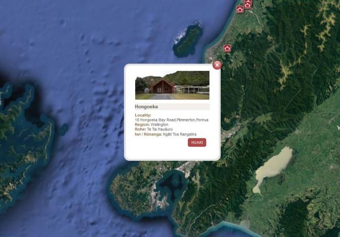 The Māori Maps interface closer up, showing details for Hongoeka, in Porirua.