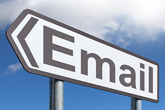 The word email on a large arrow roadsign.