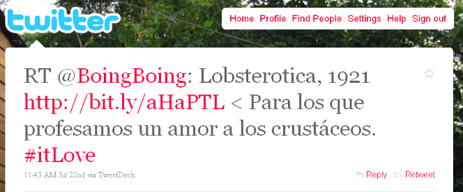 Tweet from a Spanish-speaking user, pointing to the lobster article.