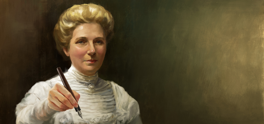 Kate Sheppard holding a quill