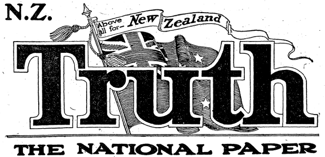 Masthead of the NZ Truth in 1930.