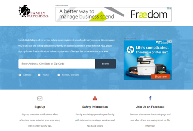 Homepage of Family watchdog, a site for tracking locations of sexual offenders.