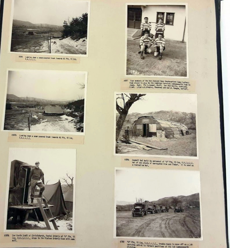 A page of six photographic prints showing various scenes from the Korean War.