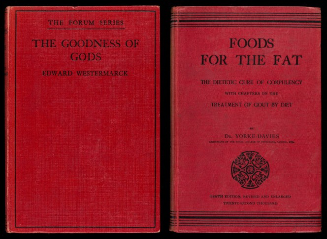 Covers of The Goodness of Gods and Foods for the Fat, both black text inlaid on red covers.