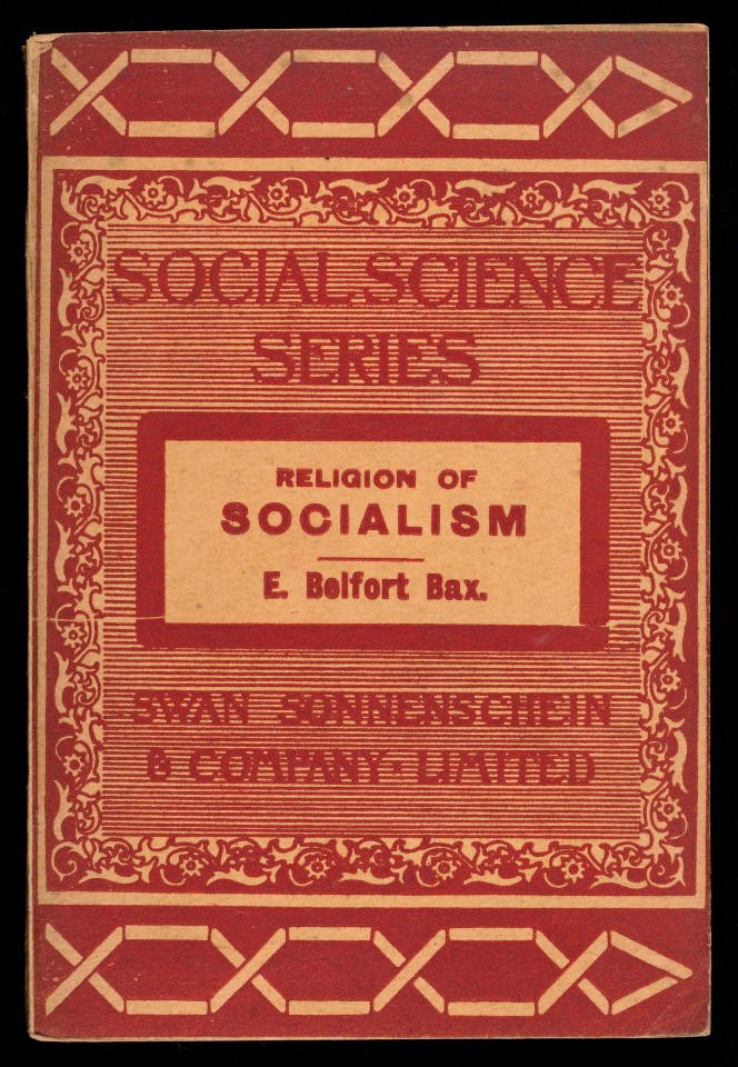 Cover of E Belfort Bax's Religion of Socialism, part of a Social Science series.