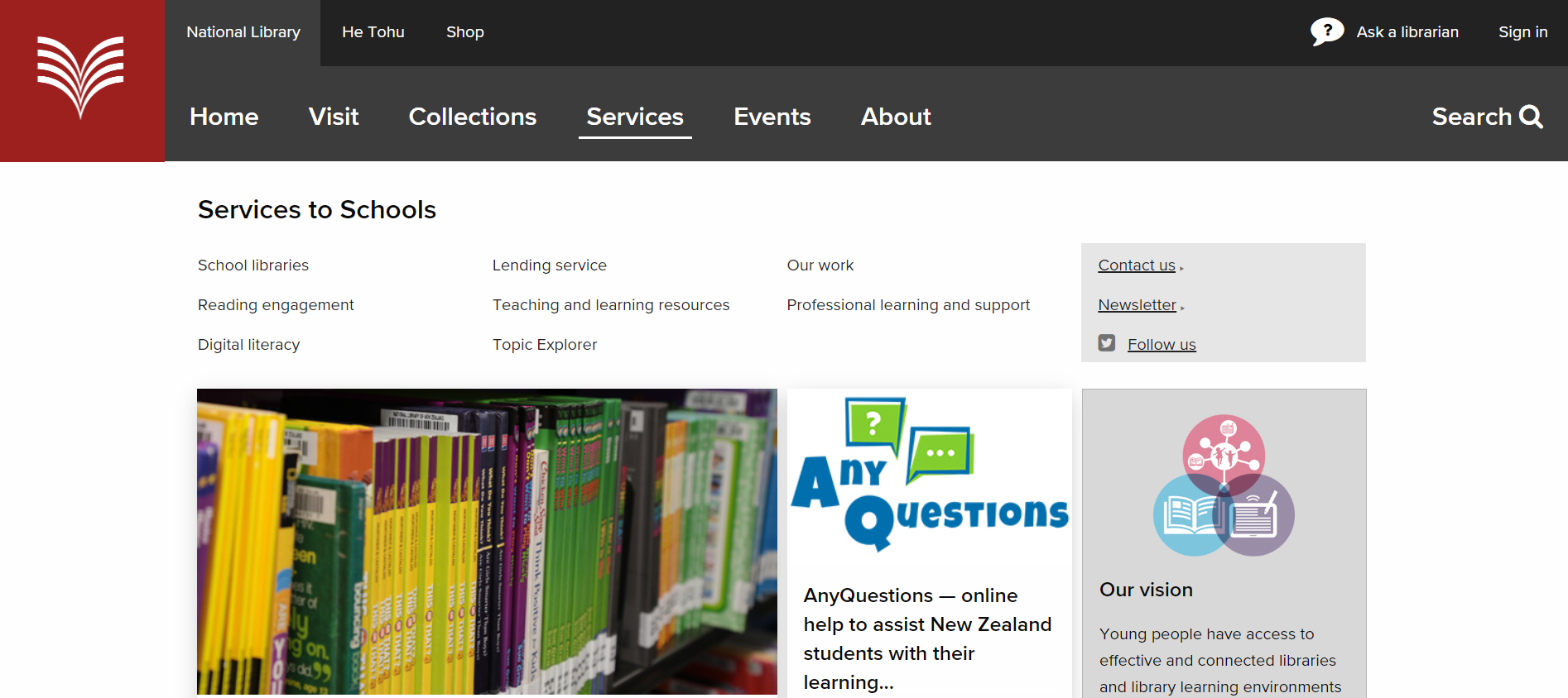 Screenshot of Services to Schools landing page.