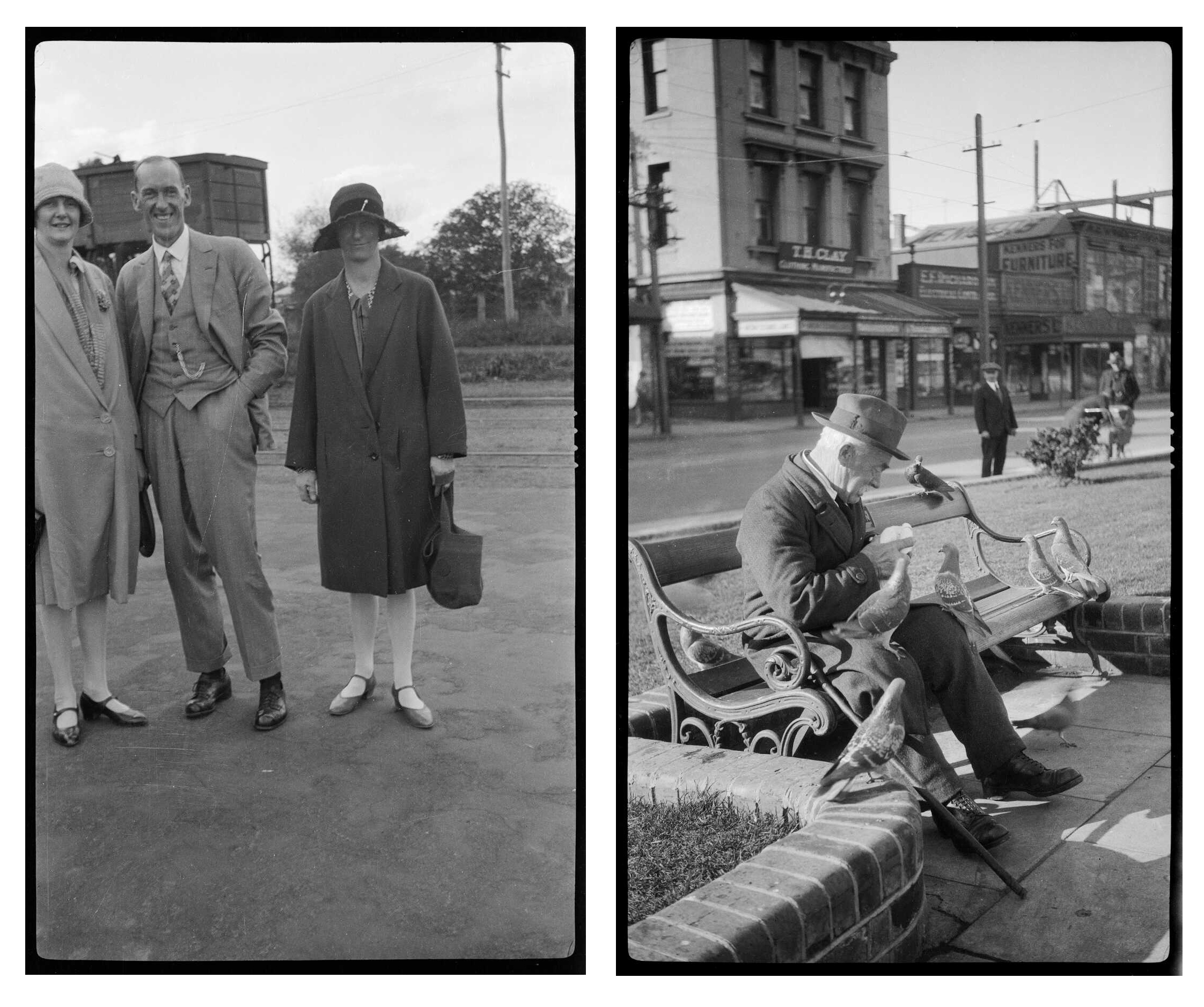 Two black and white images are shown side by side, both with portrait orientation. The image on the left shows a group portrait of three adults dressed formally and the image on the right shows a man on park bench feeding pigeons.