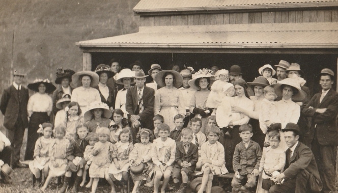 Limpinwood School photo, Australia with Harry Comper in the centre.