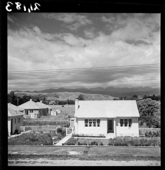 State house, Levin. Pascoe, John Dobree, 1908-1972 :Photographic albums, prints and negatives. Ref: 1/4-001183-F