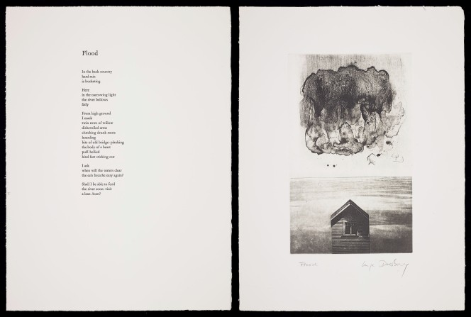 Typesetting and illustration for Hone Tuwhare's Flood. Illustration shows an inky cloud and a small windowed shed.