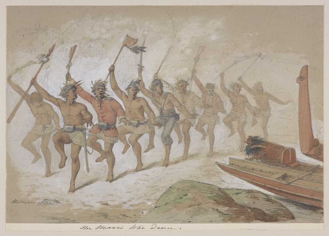 Watercolour of nine Maori men engaged in a haka with a mixture of Māori and European weapons and clothing.