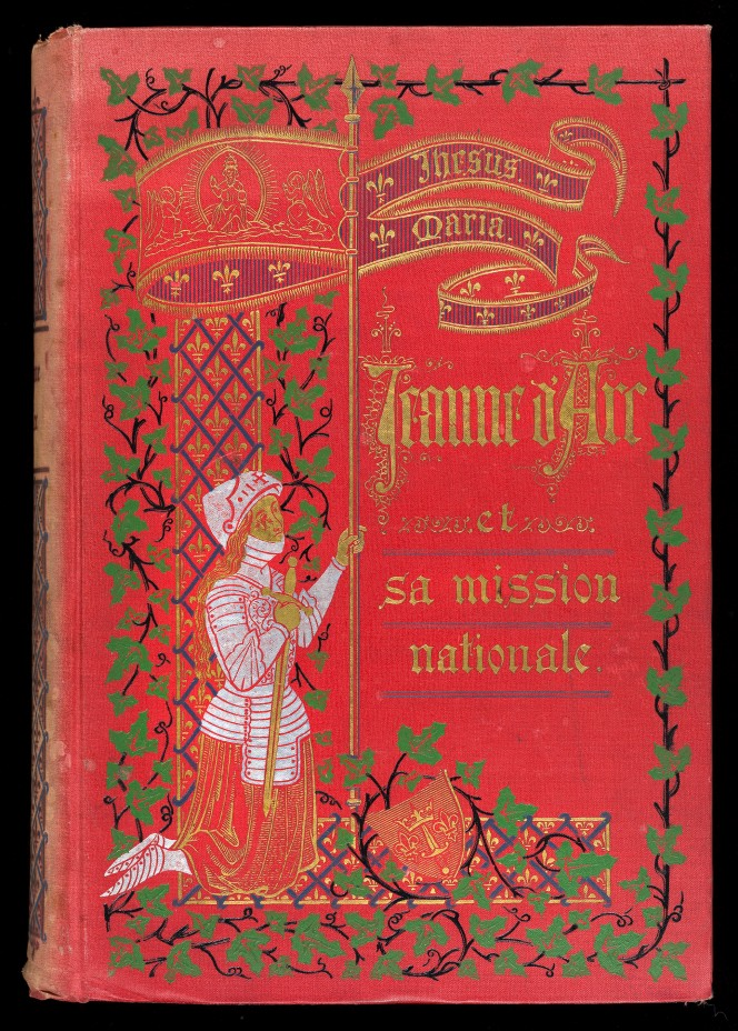 Cover of Victor Canet's Jeanne d'Arc et sa mission nationale, illustrated with an image of Jeanne kneeling holding her sword.