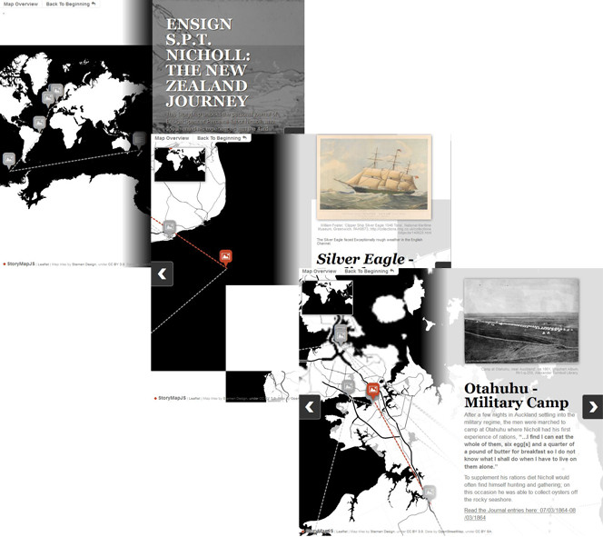 Pages from Ensign SPT Nicholl: The New Zealand Journey, on StoryMapJS, showing maps with heritage images and narrative tied to locations.