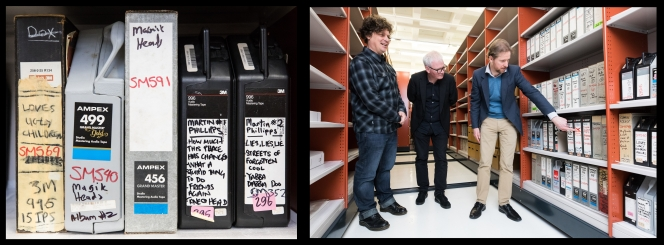 """L: Examples of the 2"""" master tapes that will be digitised. R: Flying Nun co-directors Ben Howe and Roger Shepherd, with Michael Brown, Music Curator. Photo: Mark Beatty, ATL Imaging Services"""