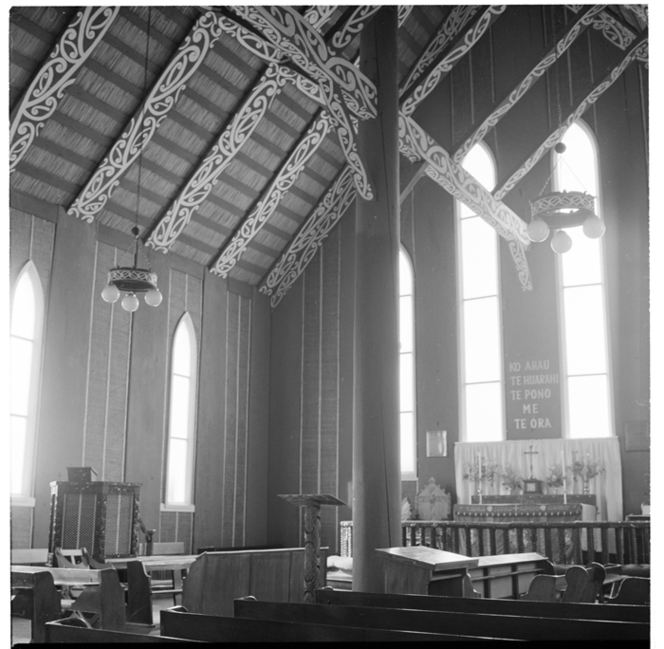 Images of the interior of the Rangiatea Church, also includes images of a local family, Otaki. Ref: AWM-0350-F