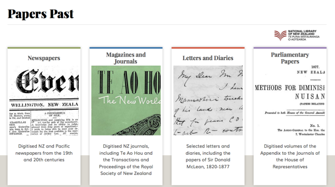 Homepage of Papers Past, showing the various format types.