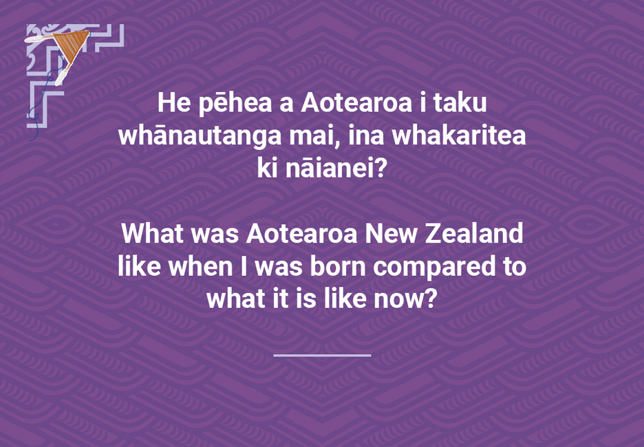 What was Aotearoa NewZealand like when I was born compared to what it is like now?  [Aotearoa then and now](/files/schools/hm99-aotearoa-then-and-now-english.mp3)