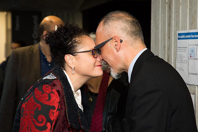 Photo of Louisa Wall and Paul Diamond as the hongi.