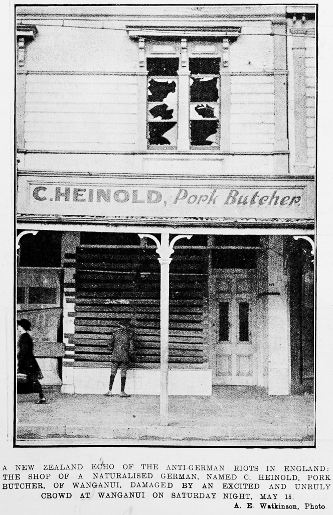 This picture from the Auckland Weekly News shows Conrad Heinold's shop in Whanganui after the riots on 15 May 1915.