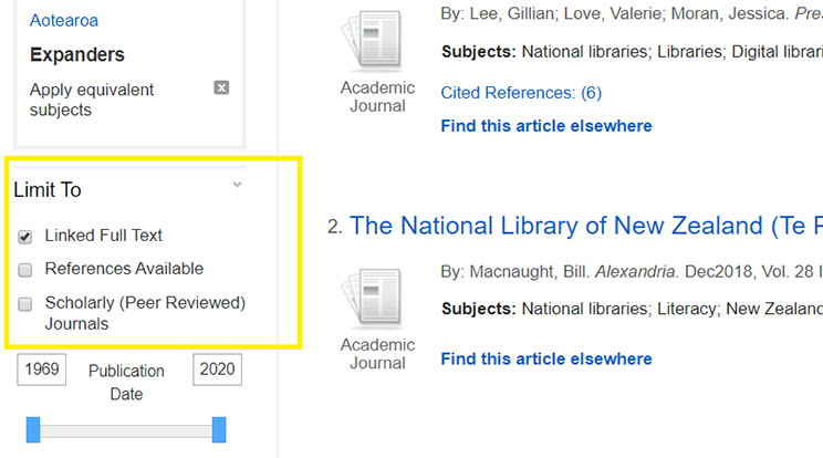 Screenshot of filter to 'linked full text' on a database.