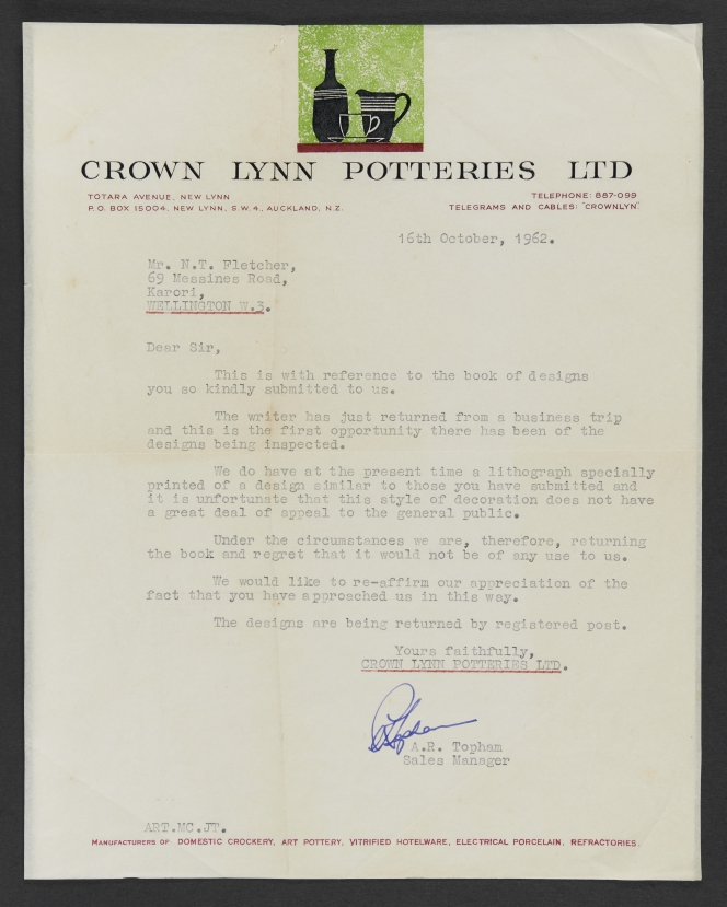 Letter from Topham to Nolan Fletcher RE: sketchbook of proposed designs. Alexander Turnbull Library MS-Papers-11979.