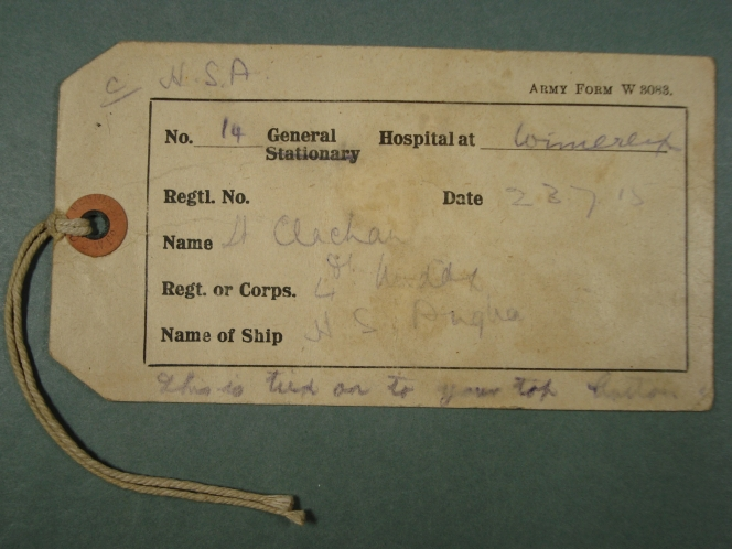 Clachan's wounded soldier's identity tag.