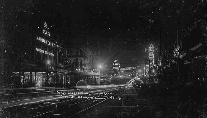 Night in Queen St, Auckland, showing the lights celebrating the Armistice.