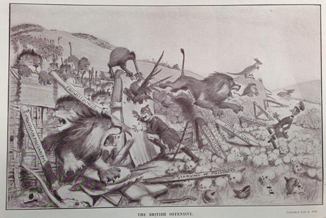 Cartoon showing British lions New Zealand kiwis and Australian kangaroos attacking German soldiers.