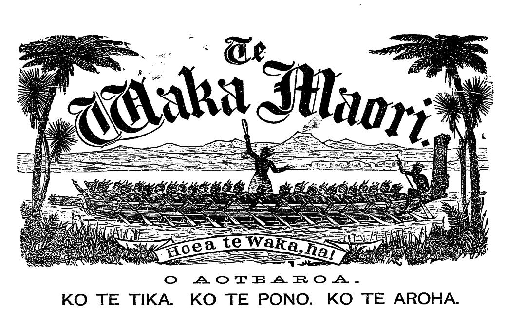 Masthead of Te Waka Māori newspaper from 1884.
