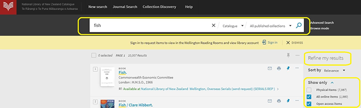 Screenshot of National Library catalogue search.
