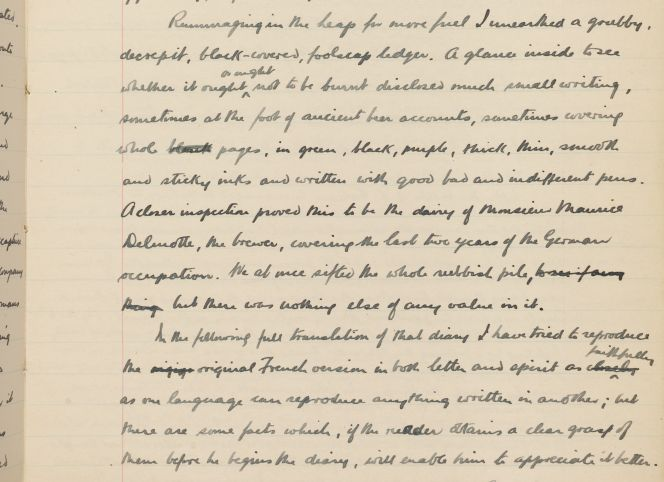 Detail of page 3 of Lindsay Merritt Inglis's translation of Maurice Delmotte's diary, MS-Papers-0421-69A