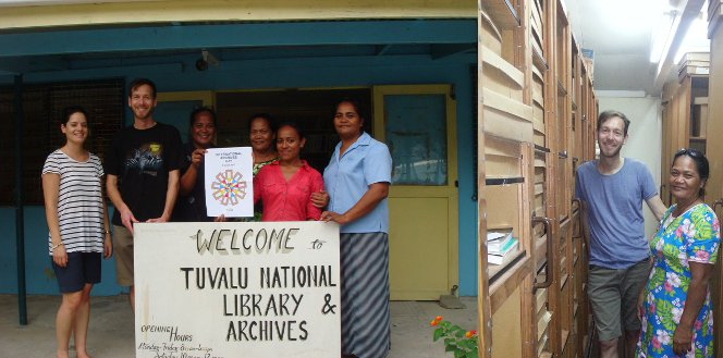 Photos of Mark and Talei with Tuvalu National Library and Archives staff, outside and in the stacks.