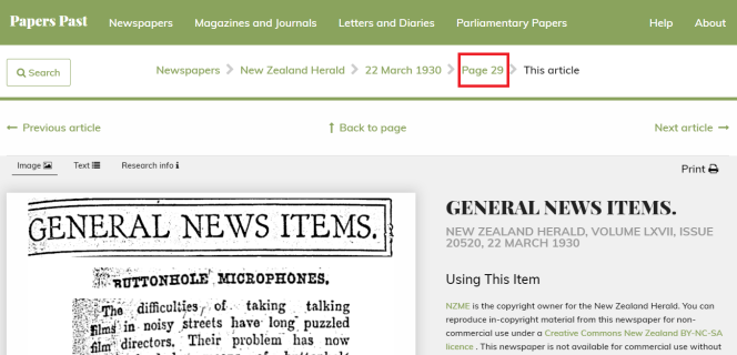 """""""Papers Past newspaper article highlighting the 'page number' option at the top of the page."""