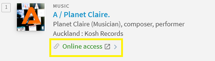 Example of green online access link in National Library catalogue.