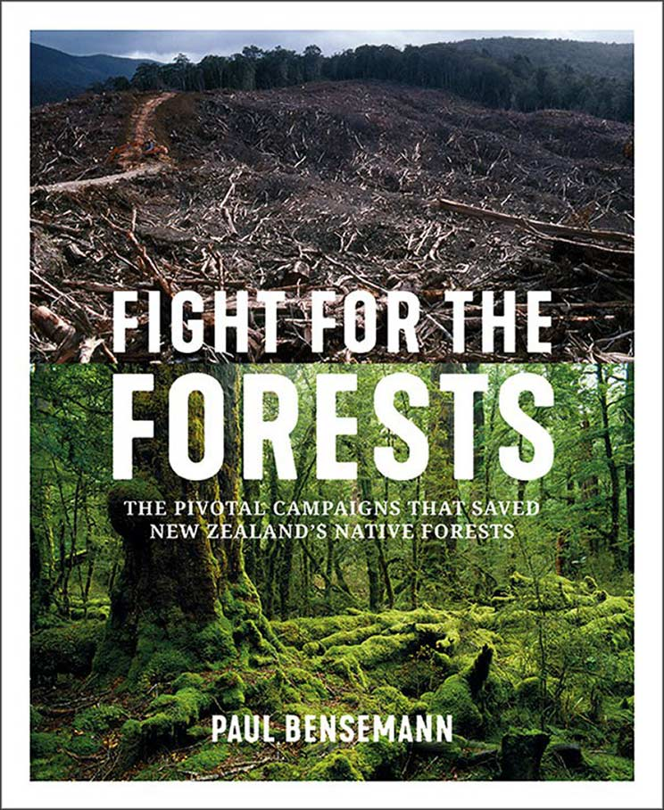 Book cover with words an image of lush forest and decimated forest.