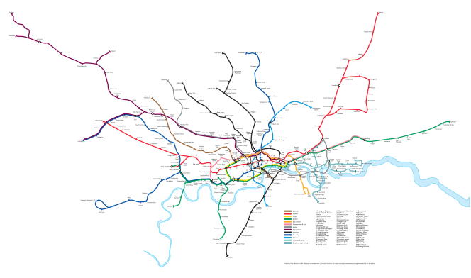 London Underground lines displayed in a more geographically accurate way. The lines are less legible, but the shape of London is more familiar.