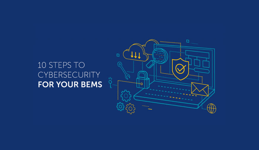 A logo with the words 10 steps to cybersecurity for your BEMS