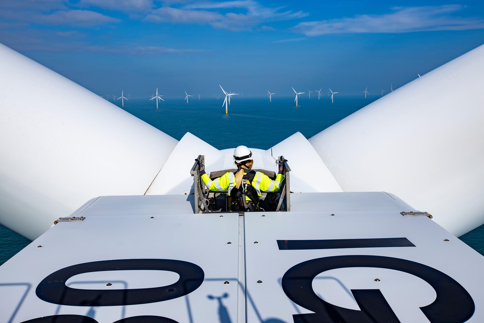 Girl in wind turbine