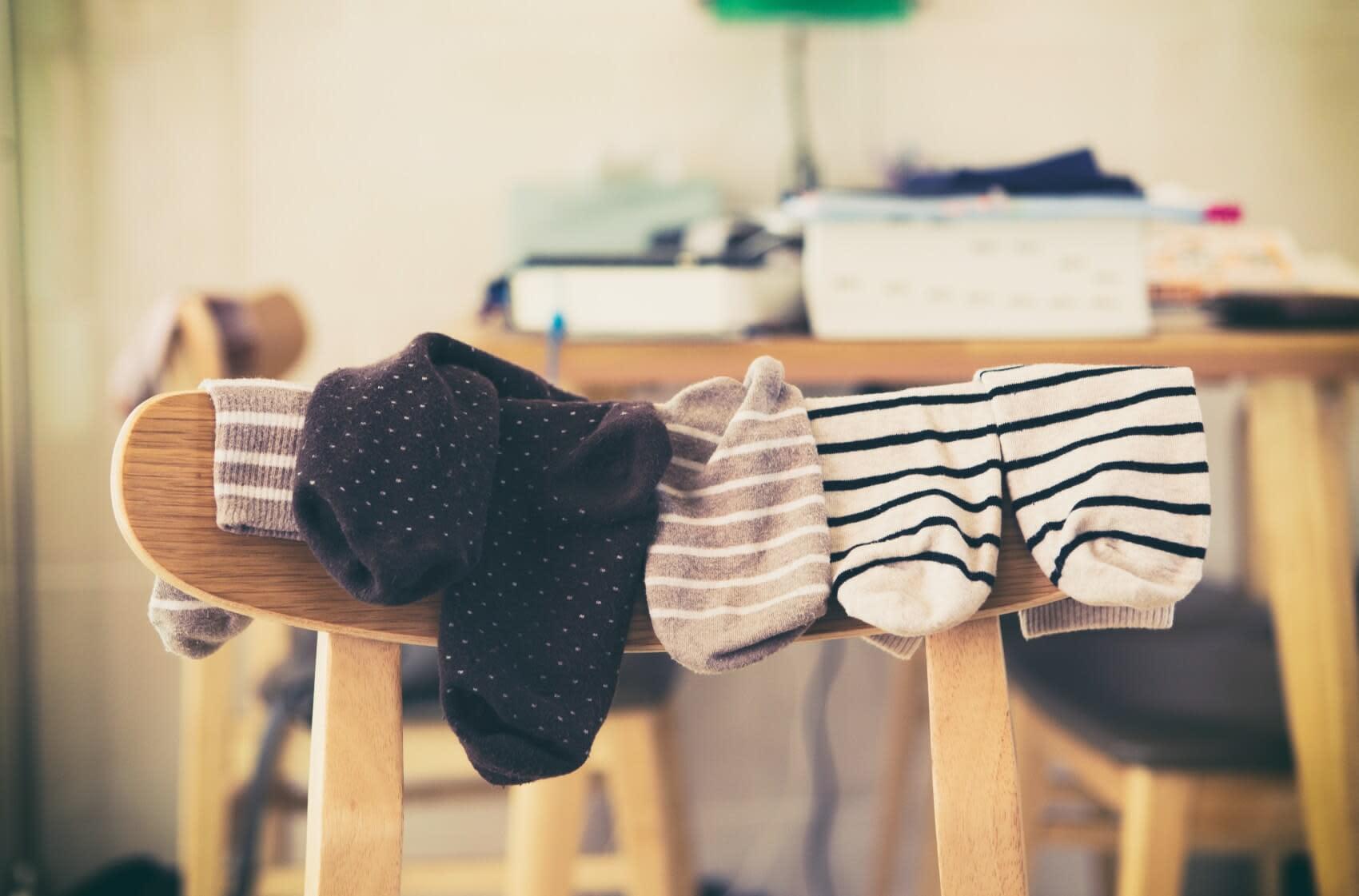 Socks on a chair drying