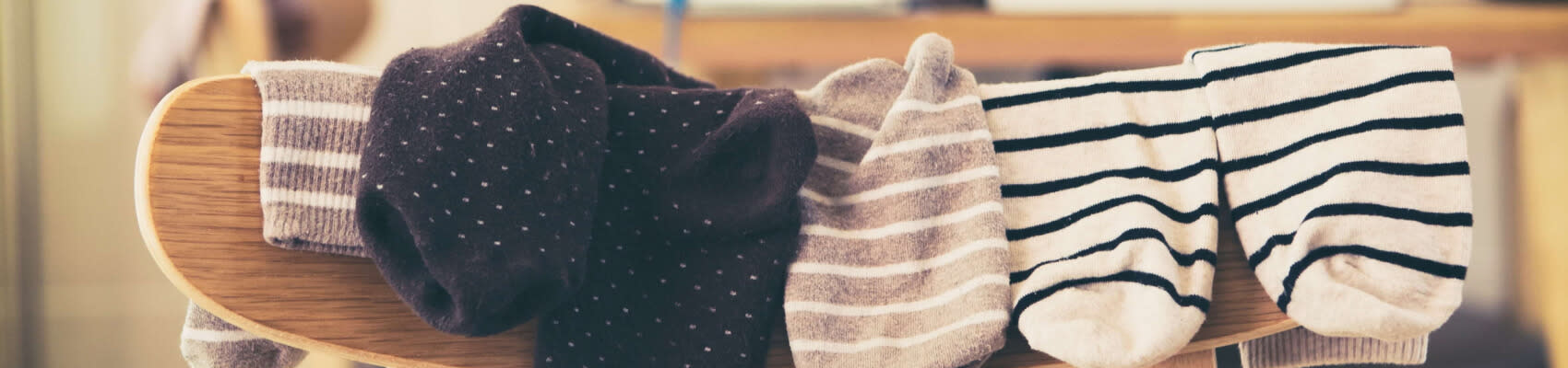 Freshy laundered socks on a chair