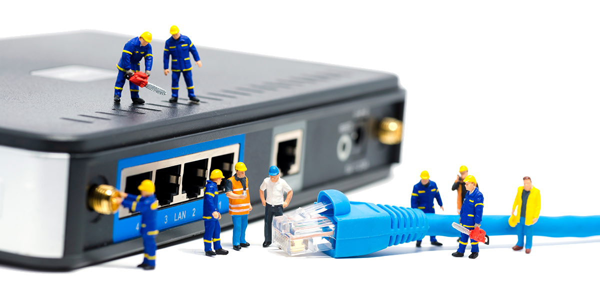 A broadband box with mini toy workers